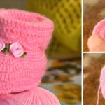 Crochet Baby Rose Booties