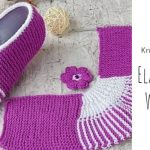 Knit Simple Elastic Slippers with Flower