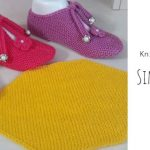 Knit Simple Slippers with Lace