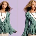 Crochet Soft Sage Circle Jacket