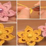 Crochet Puff Stitch Center Flower
