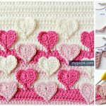 Hearts Multicolored Crochet Stitch Pattern