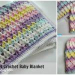 Pattern For Pastel Peaks Baby Blanket & Hat