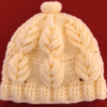 Crochet Beanie With Leaves