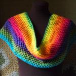 Puff Stitch Rainbow Cowl