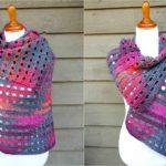Crochet Heathered Eyelets Wrap
