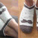 Crochet Mustache Slipper Socks