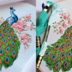 Peacock in Flower Embroidery