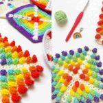 Crochet Rainbow Raindrops Square
