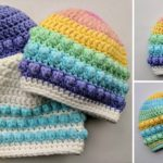 Crochet Colorful Bobble Beanie