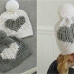 Crochet Cable Heart Hat