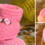 Crochet Baby Rose Booties