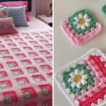 Crochet Mitered Daisy Blanket