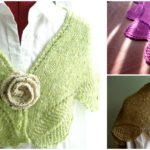 Knit Shawlette with Rose